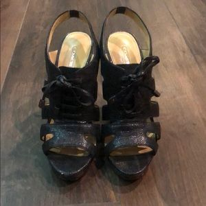 Black Leather Coach Heeled Sandals